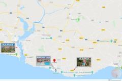De kaart met onze verhuurlocaties in de Algarve.